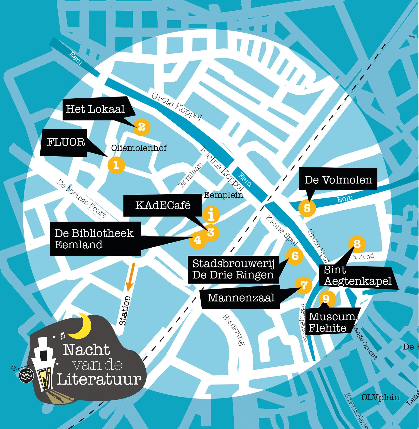 illustratie kaart Amersfoort Nacht van de Literatuur